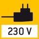 Prise d'alimentation: Intégrée à la balance. 230 V/50 Hz pour F. Sur demande, également en standard GB ou USA.
